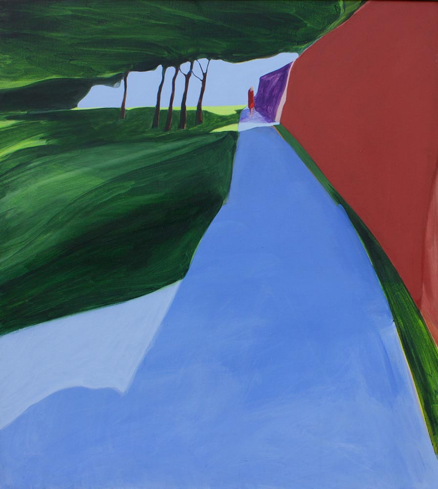 "Blue Walk, 1969, Acrylic on Canvas, 50""x45""."