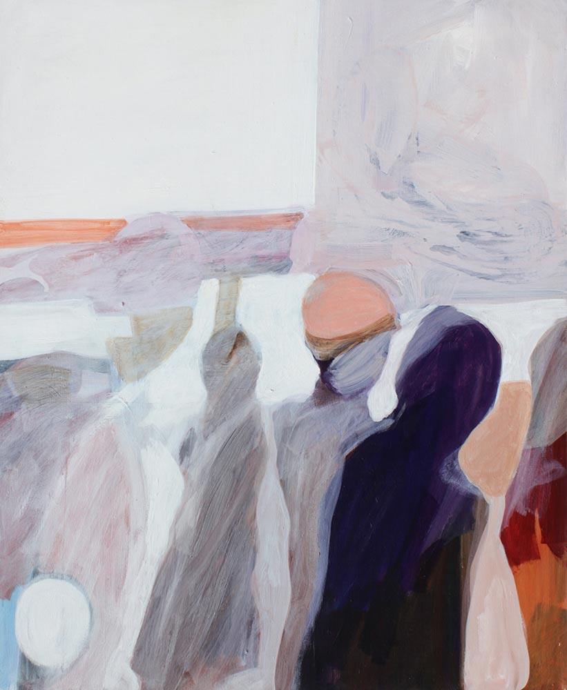 """Unknown Title, Mid 1960's, Acrylic on Canvas, 55""""x45""""."""