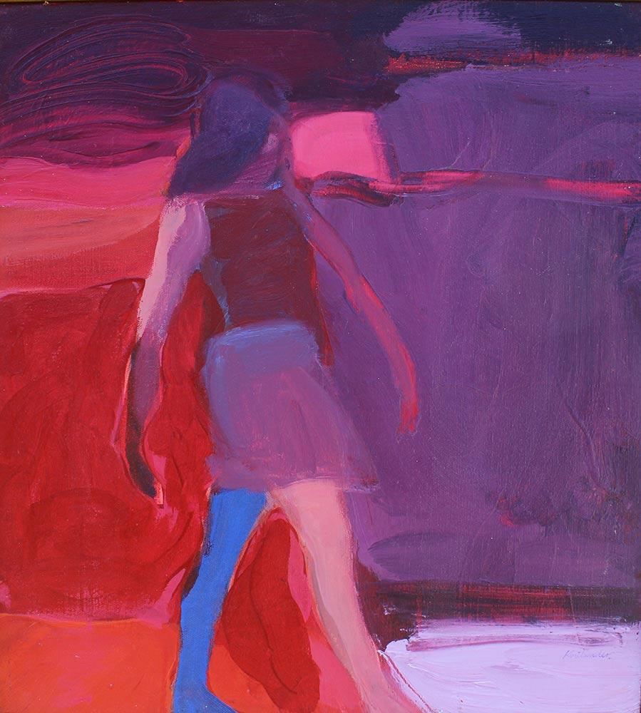 "Study for Girl Walking, 1967, Acrylic on Canvas, 18""x20""."