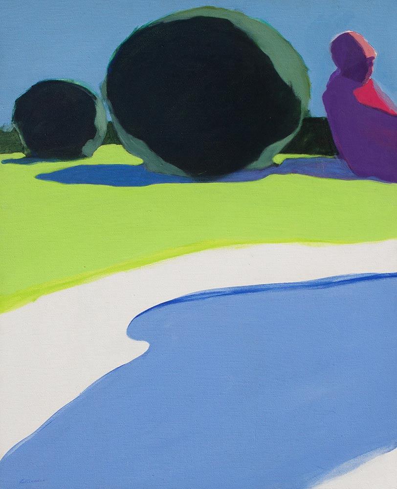 """Stream, 1969, Acrylic on Canvas, 39""""x32""""."""