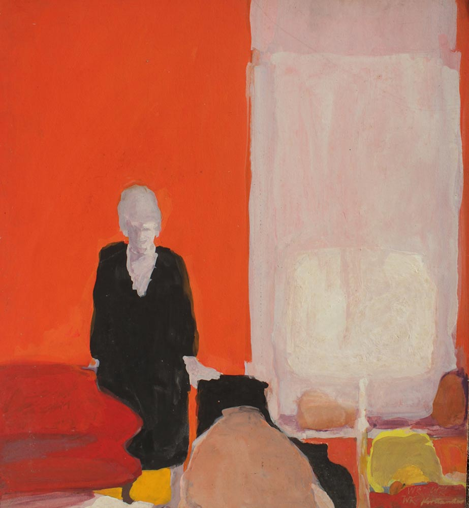 """Not Titled, Casein on Board, Early 1960's, 20""""x18""""."""