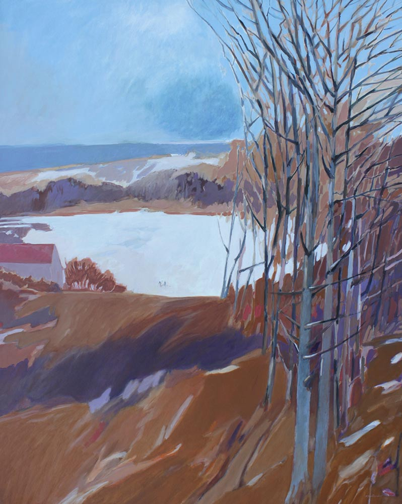 "Winter Lake, Late 1970's, Acrylic on Canvas, 60""x48""."