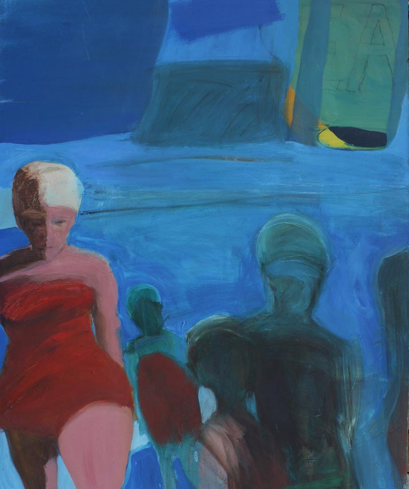 """Unknown Title, Early 1960's, Oil on Canvas, 58""""x48""""."""