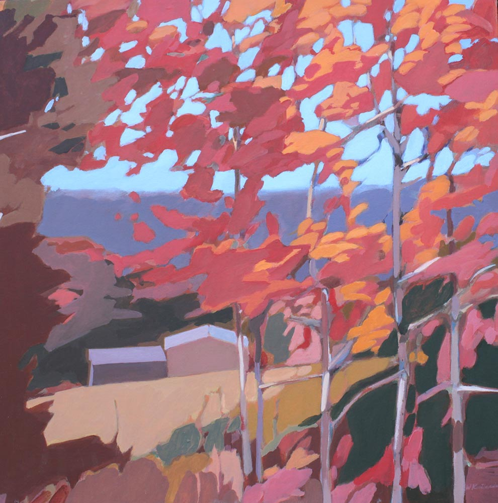 "Fall Patterns, Later 1990's, Acrylic on Canvas, 20""x20""."
