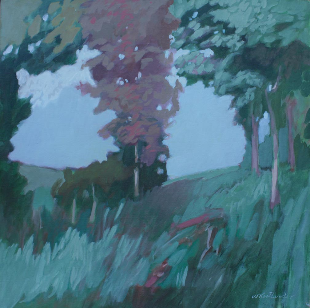 "Sheridan's Field, Early 1990's, Acrylic on Canvas, 20""x20""."
