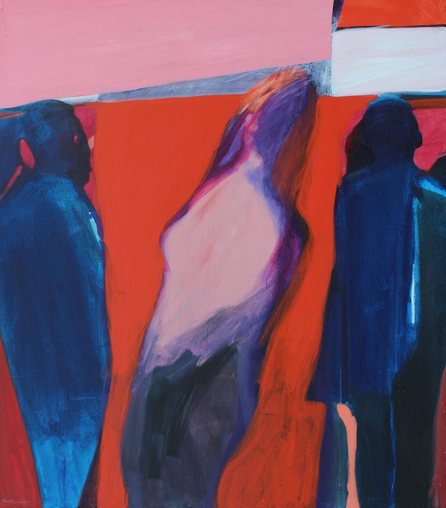 """Discotheque, Mid 1960's Acrylic on Canvas, 49""""x44""""."""