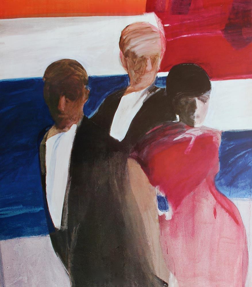 "Participants,  1964, Acrylic on Canvas, 49""x43""."