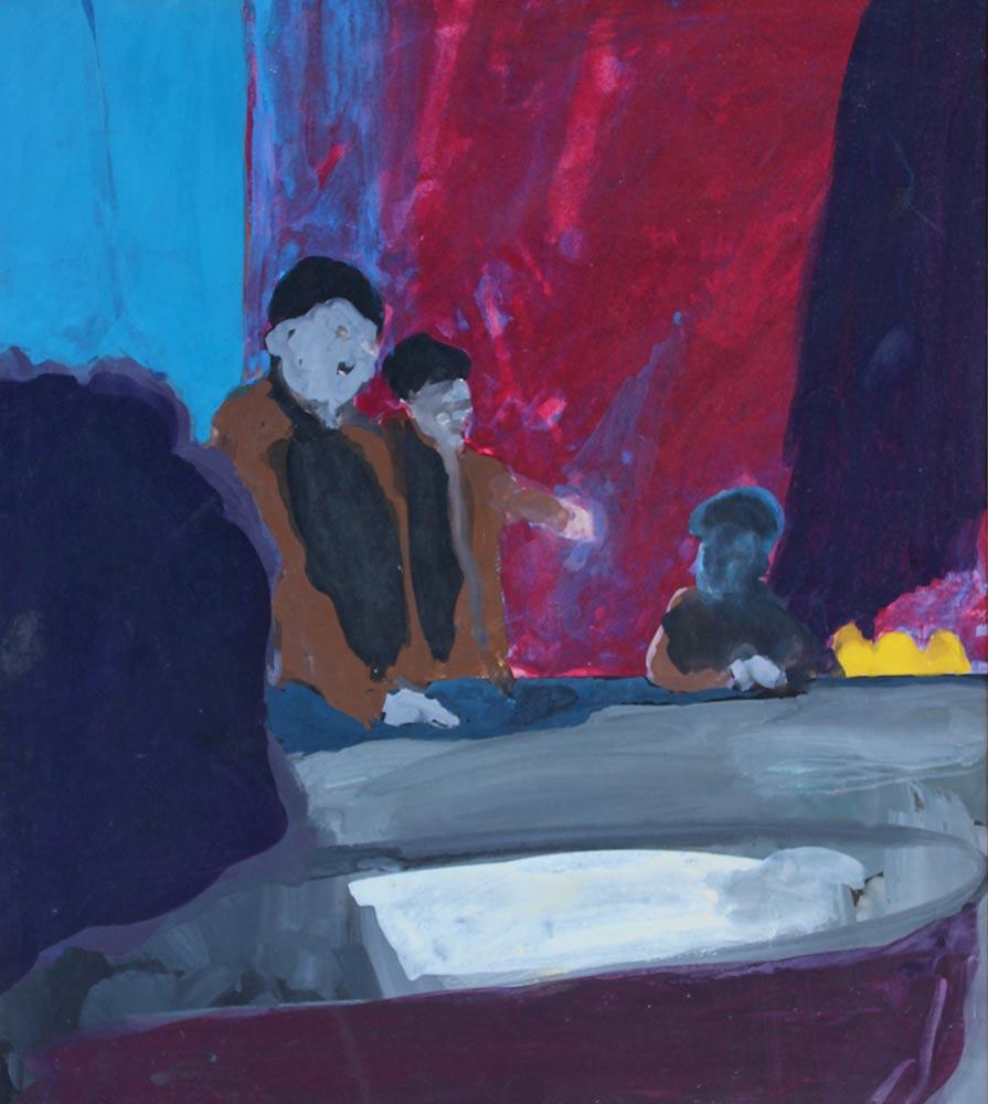 """Ubi Sunt, 1963, Casein on Board, 20""""x18""""."""